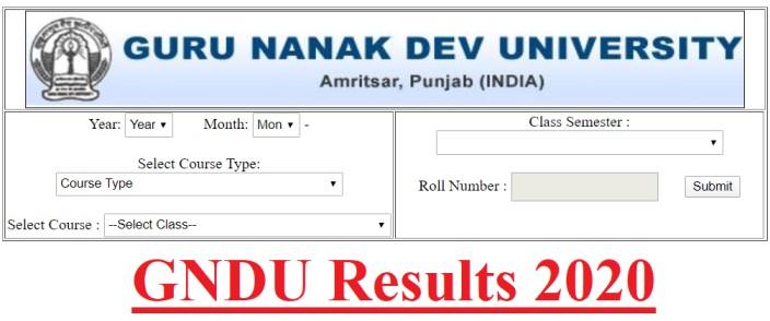 GNDU Amritsar Results 2020