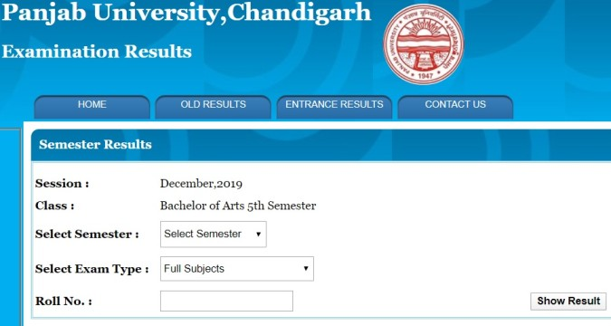 PU BA 5th Sem Results 2020 (Dec 2019)