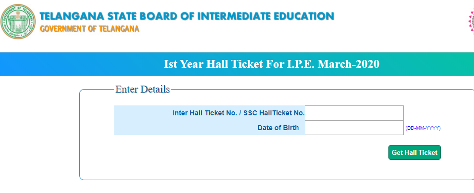 TS First Year Hall Ticket for IPE March 2020