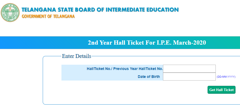 TS Second Year Hall Ticket for IPE March 2020