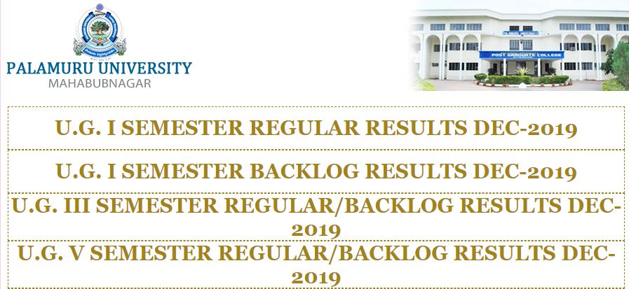 Palamuru University degree results 2019-20 Dec manabadi